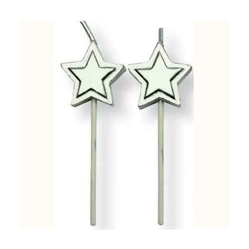 Candles Silver Stars pcs/8