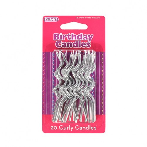 Silver Curly Candles