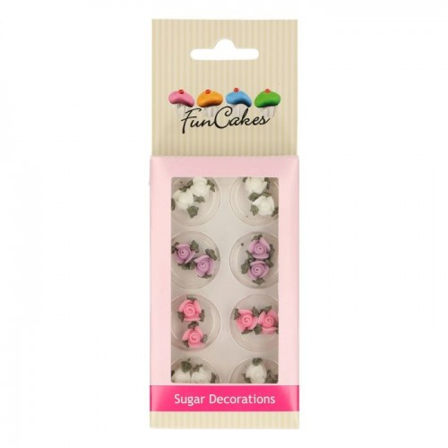 SUGAR DECORATIONS ROSES WITH LEAFS SET/16